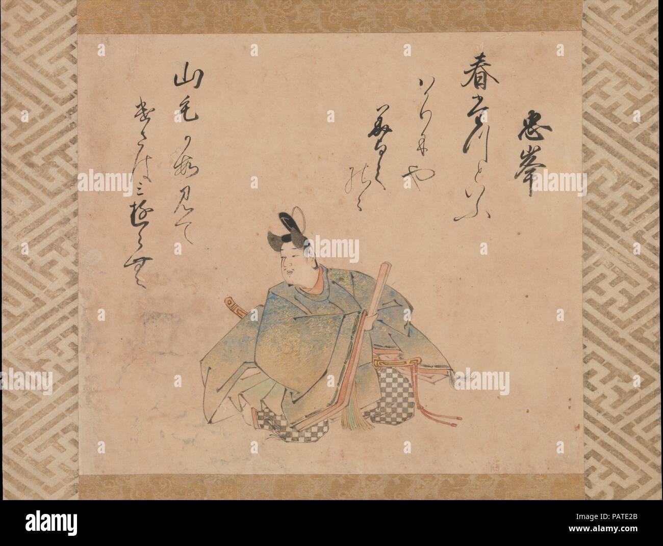 """Le poète pas Tadamine Mibu, à partir d'un ensemble de feuilles d'album illustrant la trente-six grands poètes poétique. Artiste: Iwasa Matabei (japonais, 1578-1650). Culture: le Japon. Dimensions: Image: 11 1/4 x 12 3/4 in. (28,6 × 32,4 cm); dans l'ensemble avec support de montage: 47 3/4 x 16 5/8 in. (121,3 × 42,2 cm); dans l'ensemble avec les boutons: 47 3/4 × 18 3/4 in. (121,3 × 47,6 cm). Date: début du 17e siècle. Pour l'élite japonaise, la poésie était la quintessence de l'expérience littéraire. Idéalisé et profondément admiré, les poètes ont souvent été commémoré dans l'art du portrait. Au début du onzième siècle, Kinto Fujiwara (966-1041) a sélectionné trente-six """"immor Photo Stock"""
