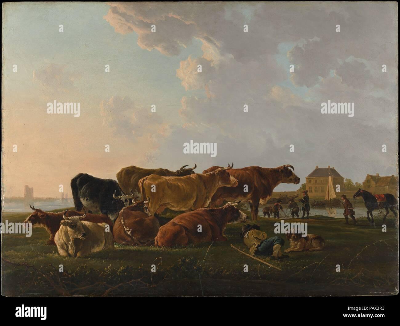 Paysage avec le bétail. Artiste: Jacob van Strij (Néerlandais, Dordrecht Dordrecht 1756-1815). Dimensions: 31 1/2 x 42 1/4 in. (80 x 107,3 cm). Date: probablement ca. 1800. Cette impressionnante de bord porte la signature d'Aelbert Cuyp, et jusqu'à récemment, n'a jamais douté que son travail. Cuyp's peintures ont été largement appréciés dans le dix-huitième siècle, et un certain nombre d'imitateurs. Les plus capables d'entre eux, Jacob van Strij, est très probablement l'auteur de cette photo. Parmi les qualités qui indiquent une dix-huitième-siècle, le peintre sont le traitement de l'empâtement les nuages, les faits saillants, le simplifié Photo Stock