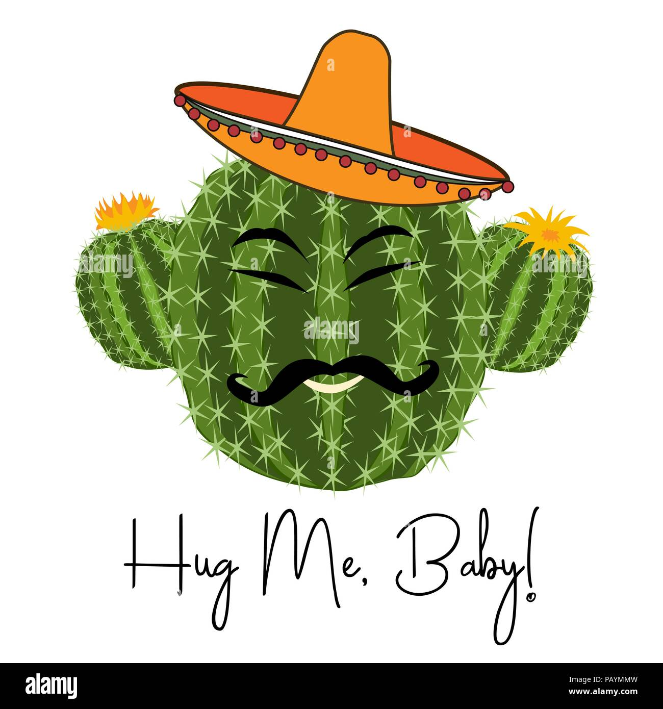 Avec Drole D Impression Cactus Cactus Souriant Dans Le Vector Merci De M Embrasser Cacrd Cactus En Sombrero Image Vectorielle Stock Alamy
