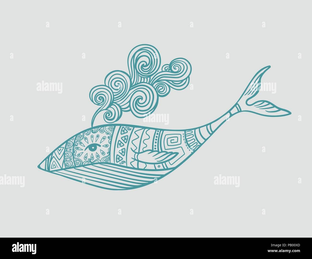 Coloriage Queue De Baleine.Des Baleines Dans Les Modeles Ornementaux Avec Vagues Fontaine Style