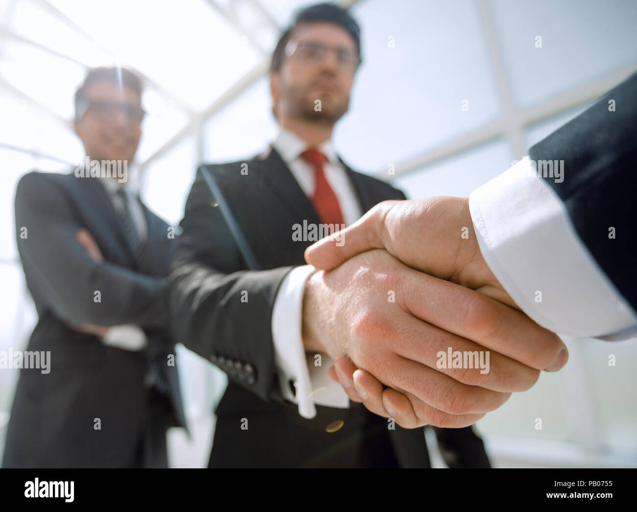 Fond d'affaires.business handshake Photo Stock