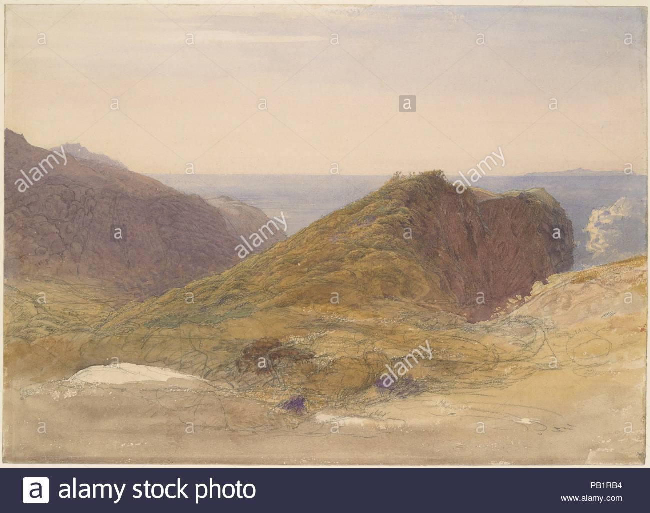 """Sur la côte nord de l'île Devon Lundy, au loin. Artiste: Samuel Palmer (britannique, Londres 1805-1881 Redhill, Surrey). Fiche technique: Dimensions: 10 x 14 11/16 15/16 in. (27,1 x 38 cm). Date: ca. 1835. Au milieu des années 1830, Samuel Palmer s'est éloigné de la style visionnaire de sa jeune Shoreham période où il faisait partie d'un groupe d'artistes connu sous le nom de """"anciens.' Dans cette vue de la côte d'un comté qu'il surnommé 'Dear, spongieux, Devon' Palmer's obsédant l'attention au détail et le penchant pour les couleurs frappantes servent une vision naturaliste. Le promontoire au centre de la sce Photo Stock"""