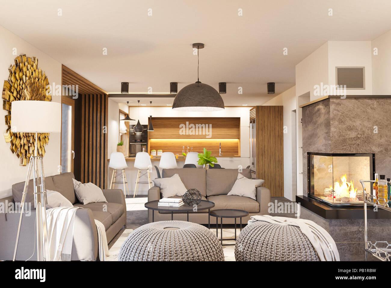 Salon et cuisine avec chemin e maison moderne en style minimaliste scandinave hygge rendu 3d - Cheminee interieur maison ...