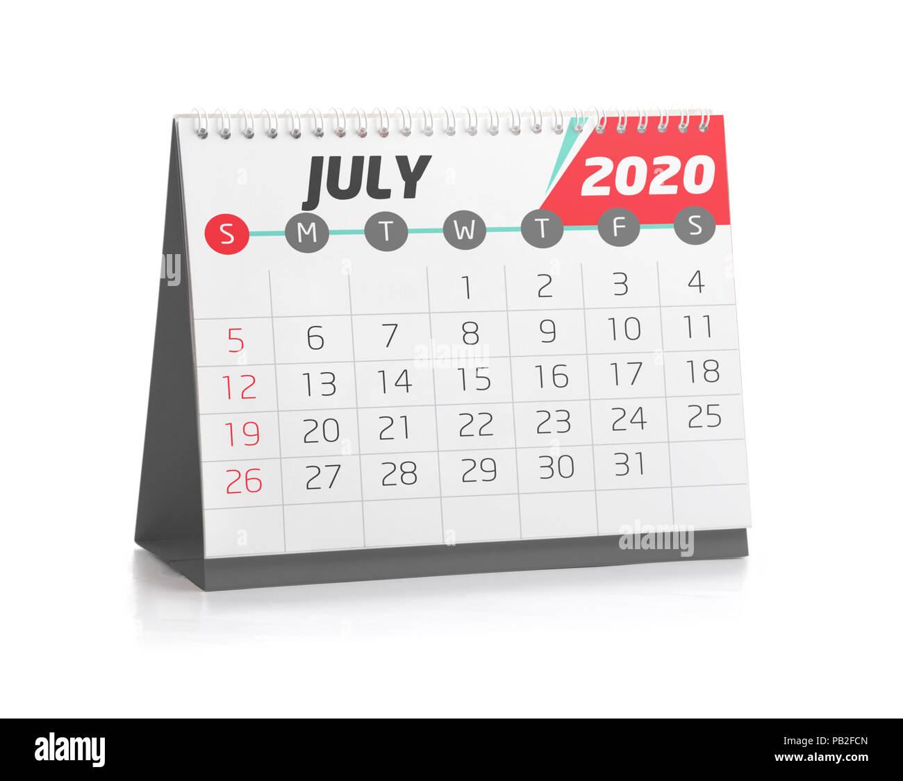 Calendrier Juillet2020.Calendrier De Bureau Blanc Juillet 2020 Isolated On White