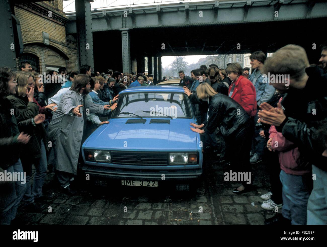L'Europe, l'Allemagne, chute du mur de Berlin, le 9 novembre 1989 Photo Stock