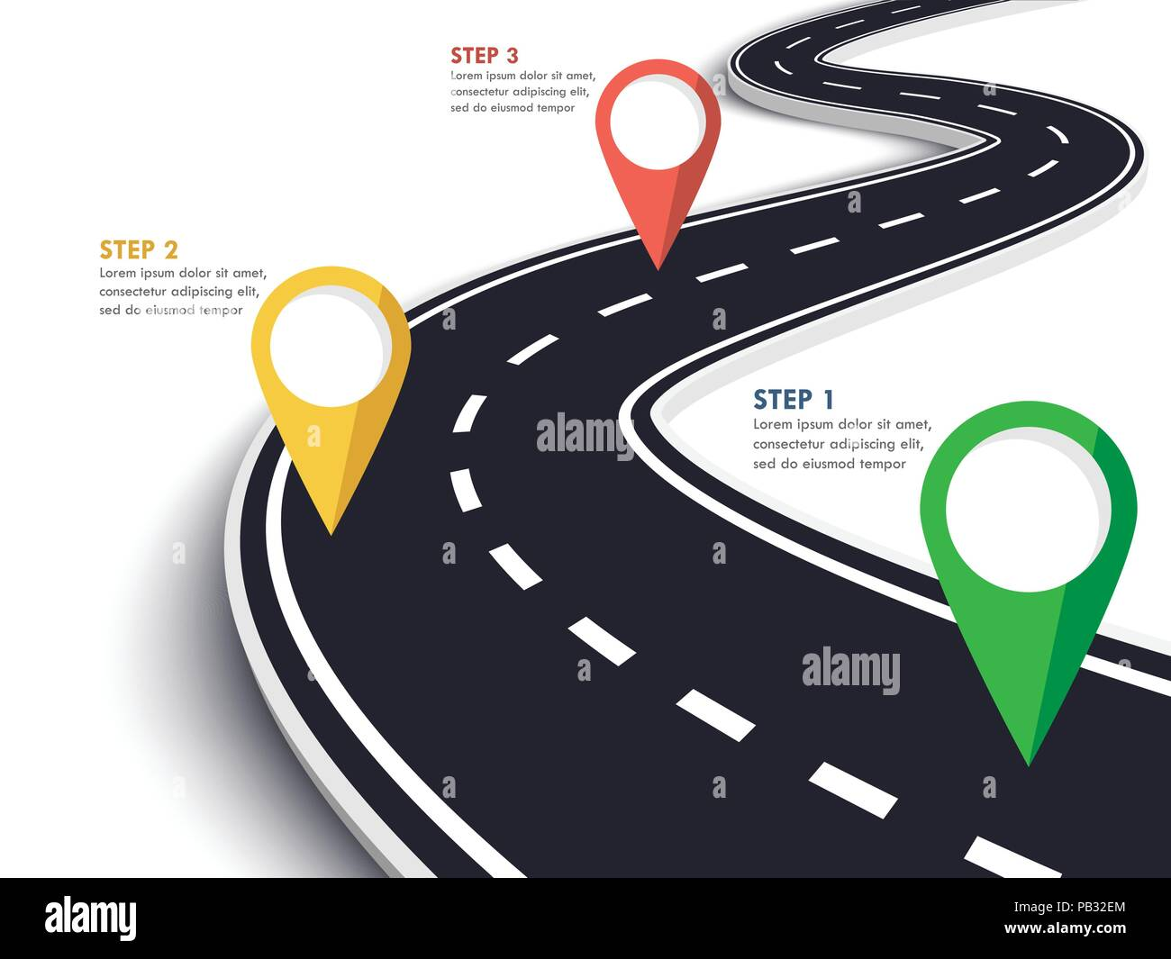 Route sinueuse sur un arrière-plan blanc isolé. Emplacement route chemin modèle infographique avec l'axe de communication. Vector EPS 10 Photo Stock