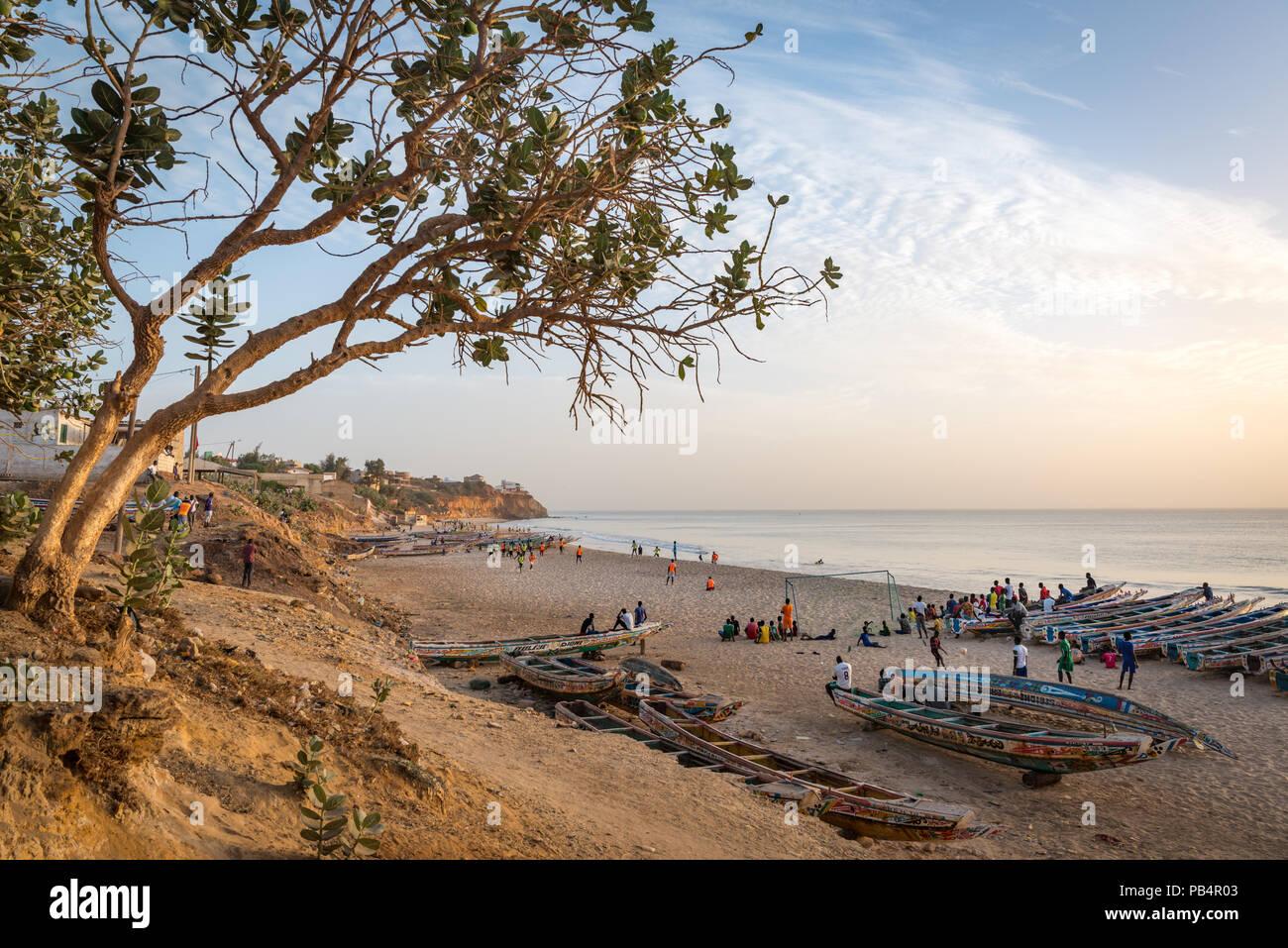 La plage de Toubab Dialao, Sénégal Photo Stock