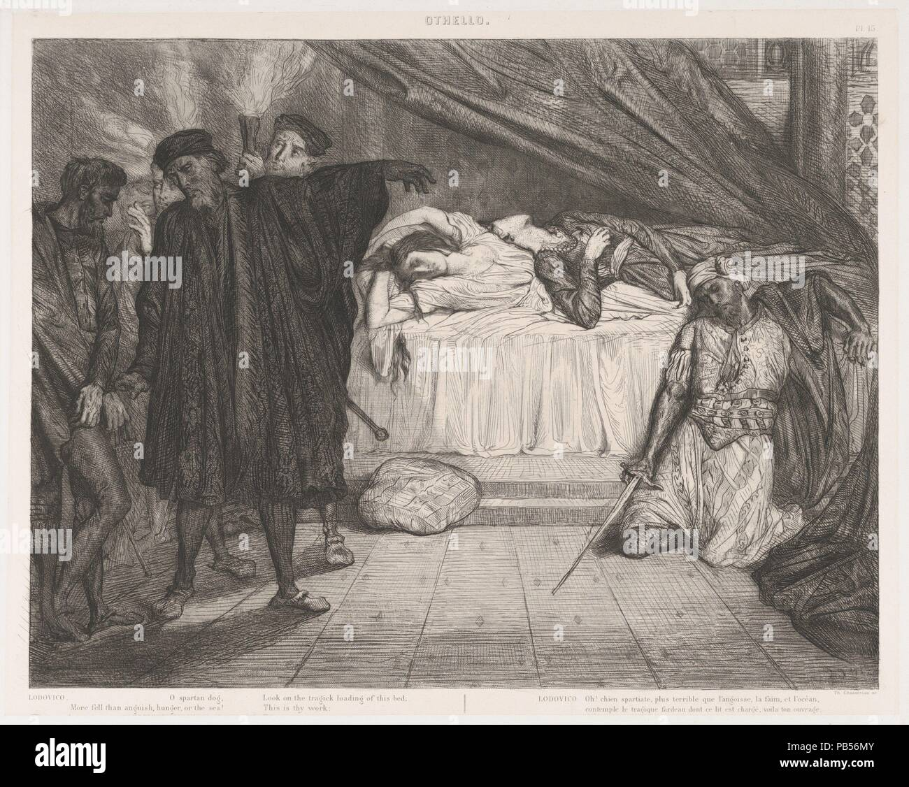 'O' chien spartiate: plaque de 15 Othello (Acte 5, scène 2). Artiste: Théodore Chassériau (français, le limon, Saint-Domingue, Antilles 1819-1856 Paris). Fiche technique: Dimensions: 25 x 19 1/4 in. (63,5 x 48,9 cm) plaque: 12 5/8 x 15 7/8 in. (32,1 x 40,4 cm) de droit: 11 x 14 5/8 à 5/16. (28,7 x 37,2 cm). Portefeuille/Série: Suite de 15 estampes: Othello de Shakespeare / Quinze esquisses à l'eau forte dessinées et gravées par Théodore Chasseriau. Objet: William Shakespeare (British, Stratford-upon-Avon 1564-1616 Stratford-upon-Avon). Date: 1844. En 1844, Eugène Piot a commandé le jeune Chassériau à p Banque D'Images