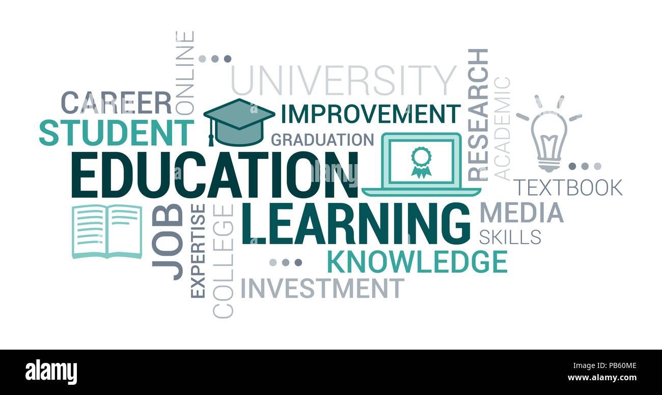 0c80e9e6cb1 L éducation de l université et l apprentissage tag cloud avec des icônes et  des concepts
