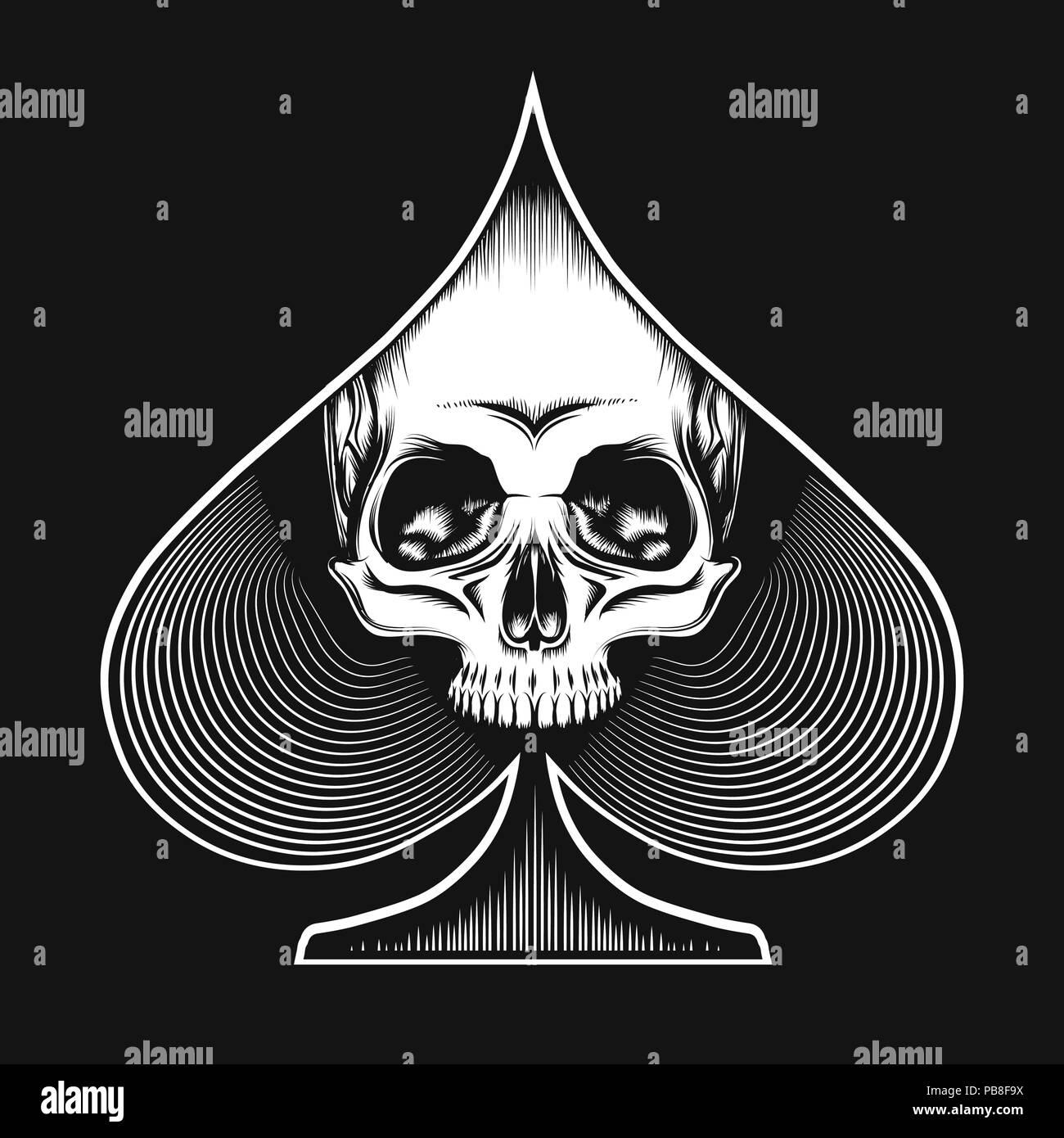 Crâne humain en fonction de chat dessiné dans le style de tatouage. Carte de jeu de casino ou concept. Vector illustration. Photo Stock