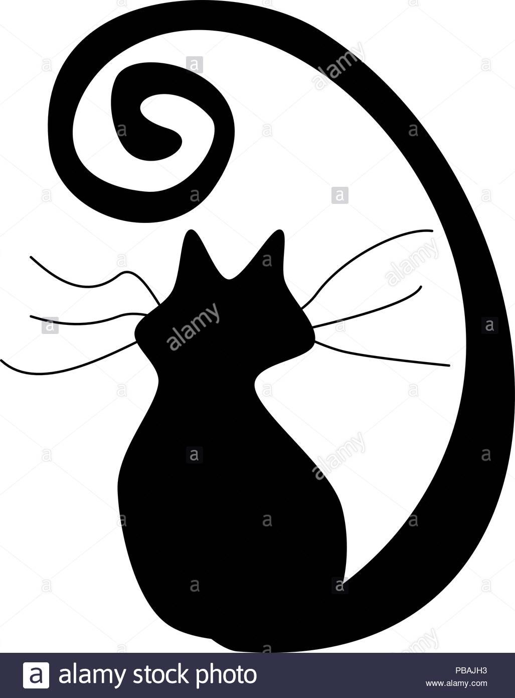 Silhouette de chat noir Photo Stock