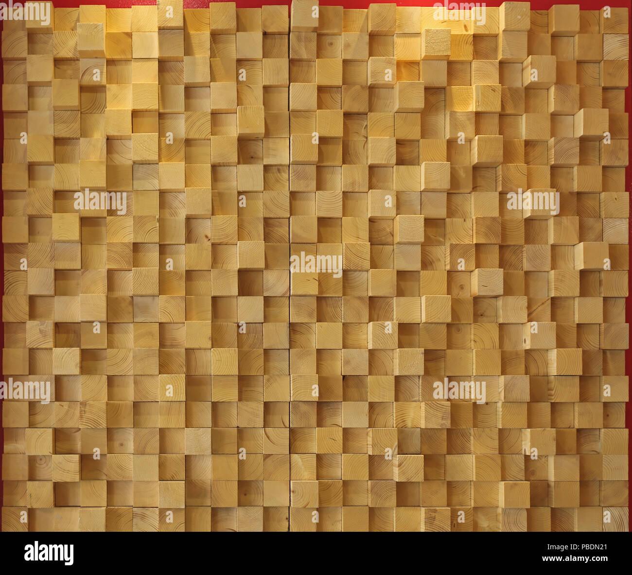 Mur contemporain fait de cubes en bois Banque D\'Images ...