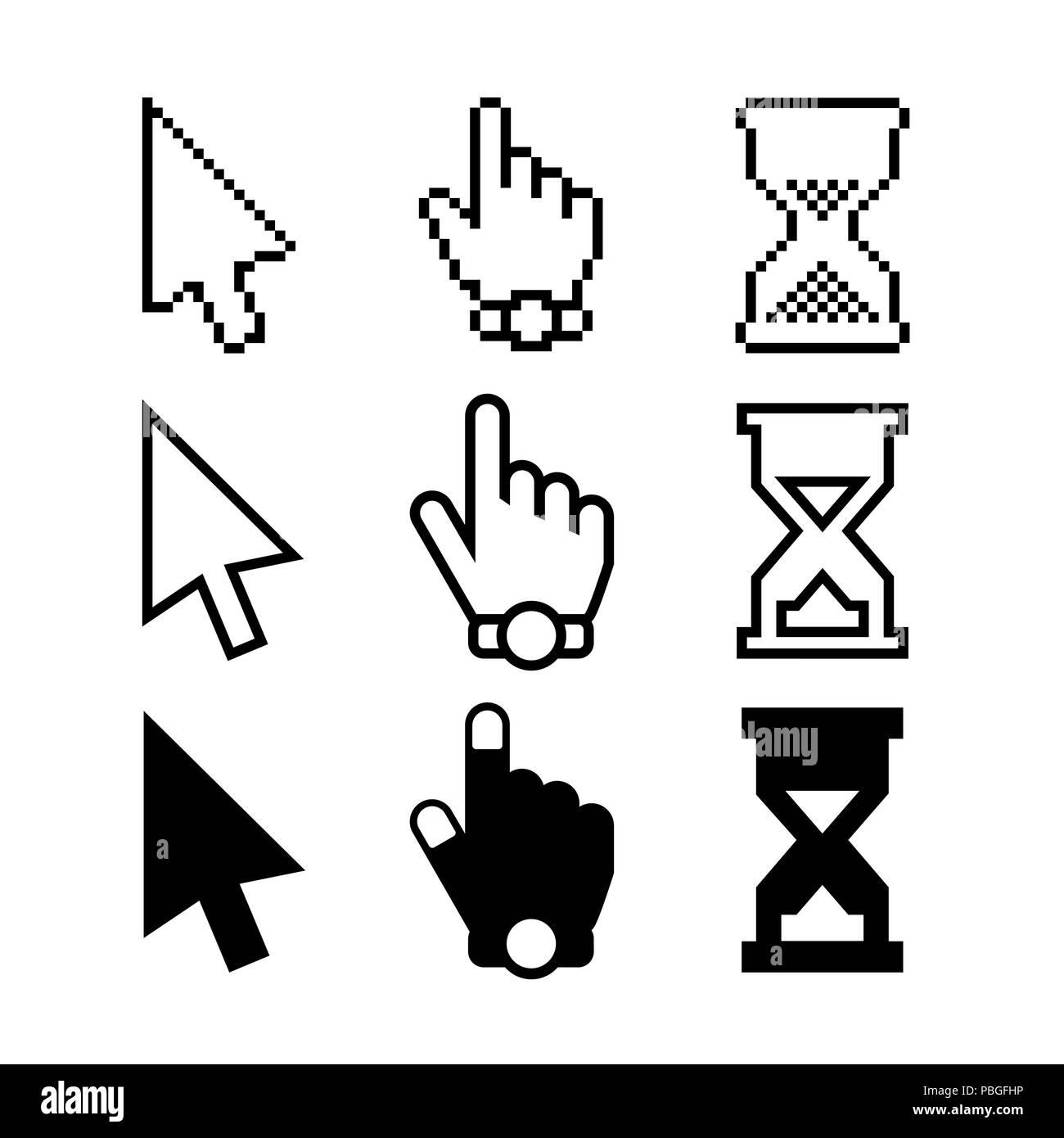Icones Curseurs La Fleche De Souris Main Et Hourglass Ensemble Des Elements Conception Pour