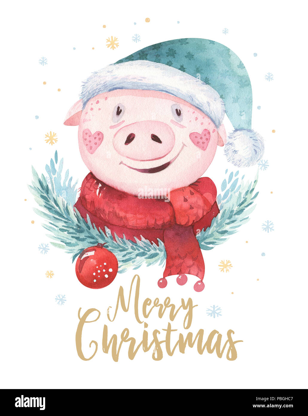 Cochon mignon aquarelle illustration symbole 2019 funny cartoon animal isol ping heureuse - Image de cochon mignon ...