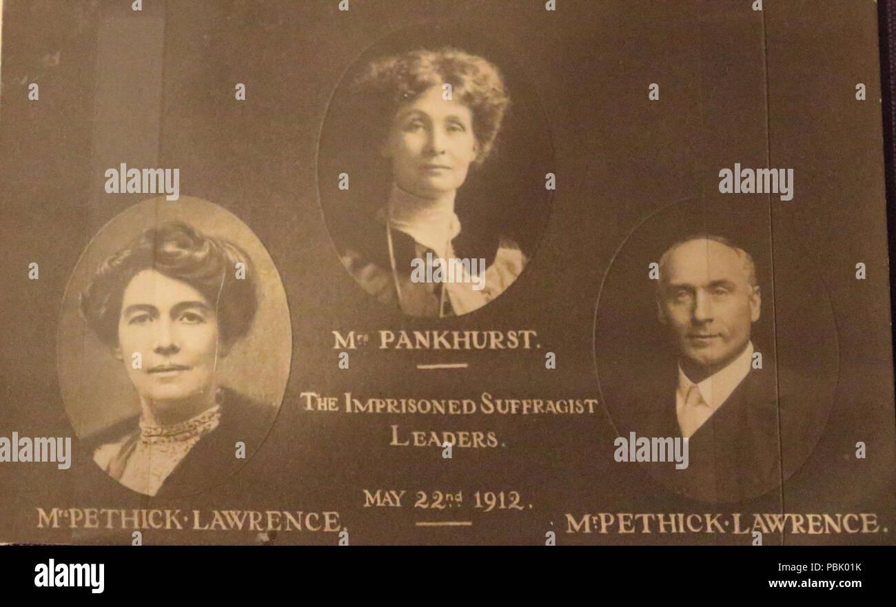 Les dirigeants emprisonnés suffragette 1912796 Suffragette Pankhurst 1912 dirigeants emprisonnés Pethick Lawrence Banque D'Images