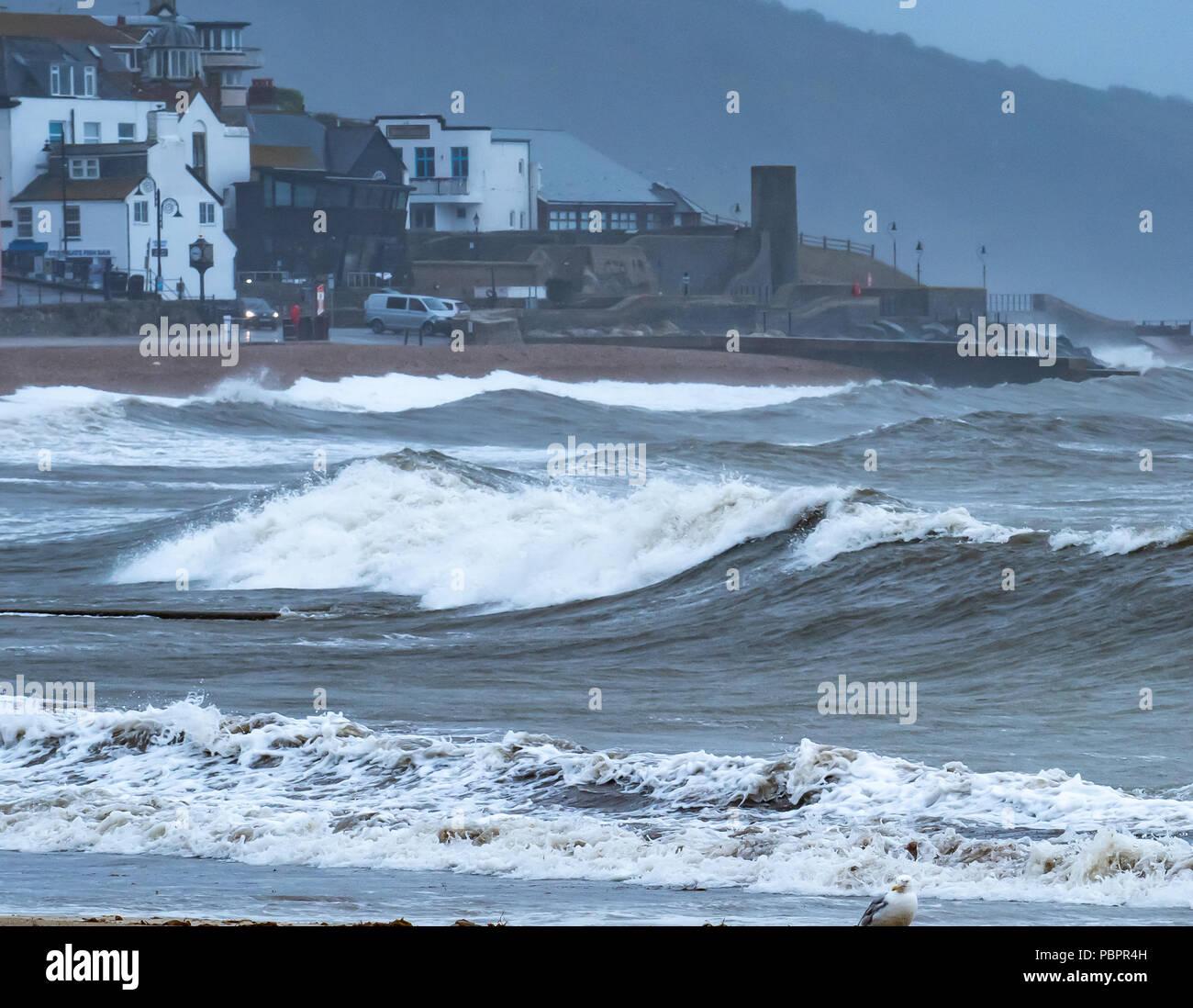Lyme Regis, Dorset, Royaume-Uni. 29 juillet 2018. Météo au Royaume-Uni: Temps orageux frappe le front de mer à Lyme Regis. La plage est vide à la station balnéaire de Lyme Regis que la pluie et les vents forts apportent un répit temporaire à la rupture record vague de chaleur d'été. Crédit : PQ/Alay Live News. Banque D'Images