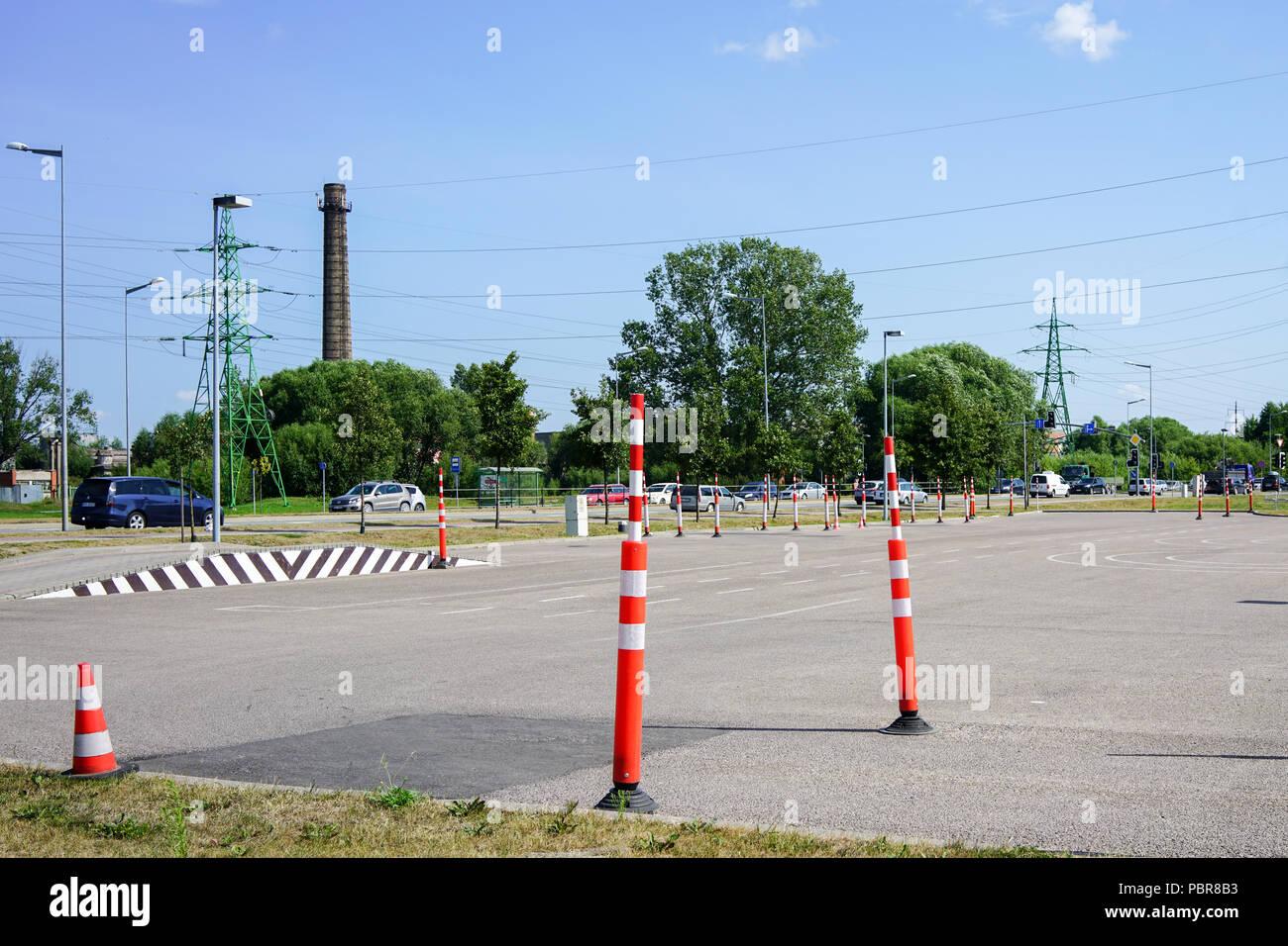 Domaine de formation conduite d'apprendre les règles de circulation Photo Stock