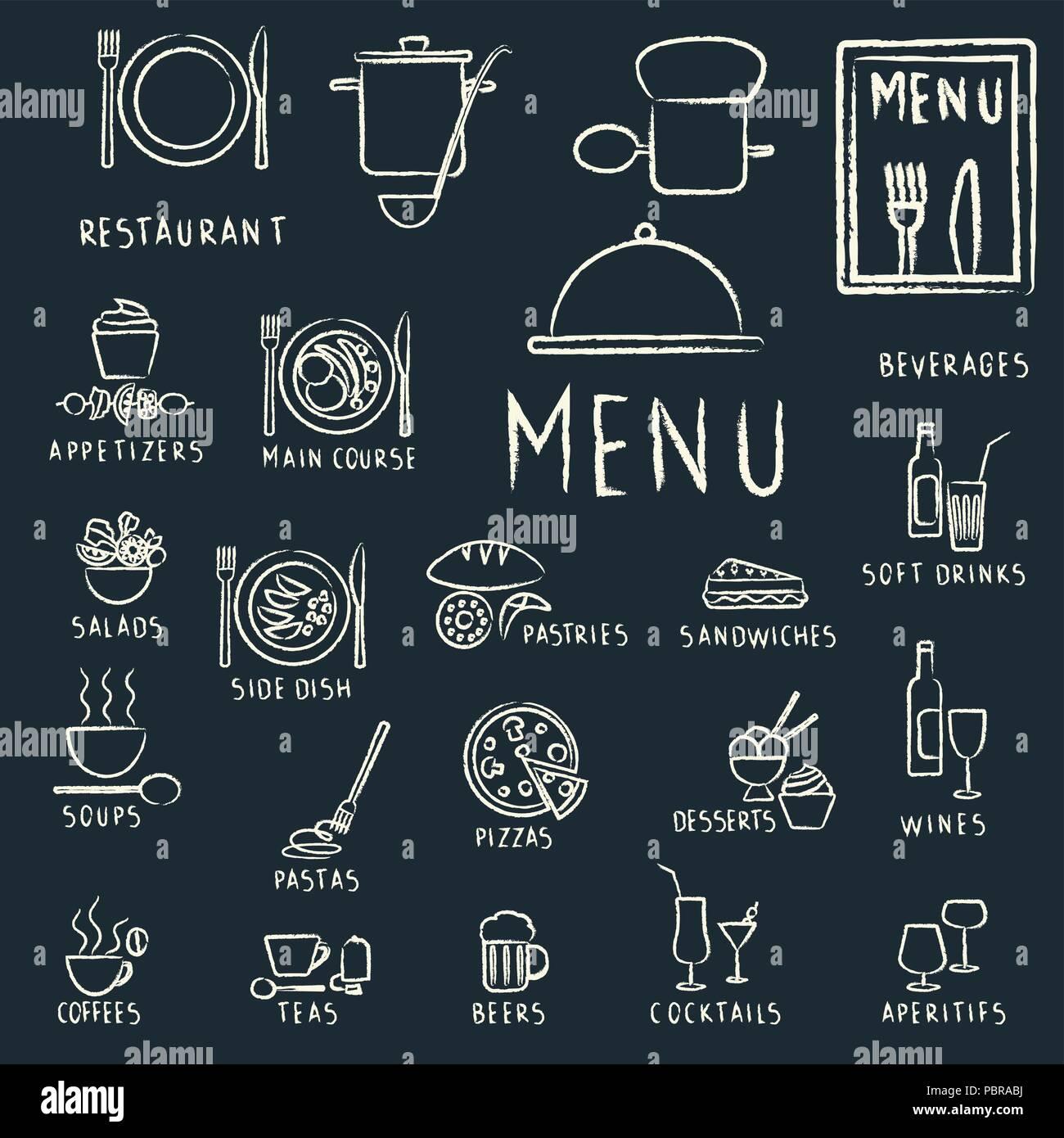 Restaurant menu design elements with chalk tirées de la nourriture et des boissons d'icônes sur tableau noir Illustration de Vecteur