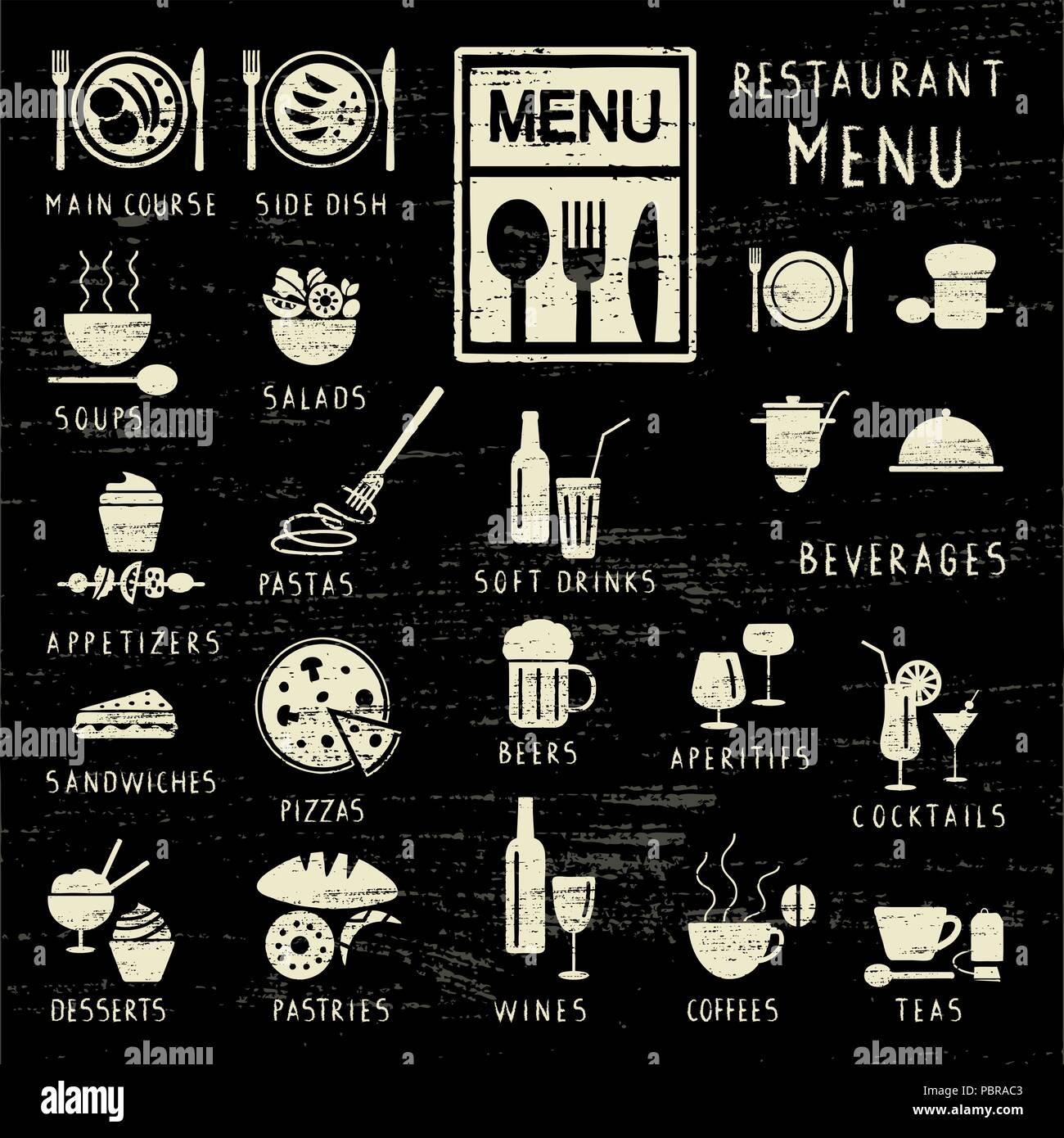 Éléments de menu restaurant griffé sur tableau noir Illustration de Vecteur