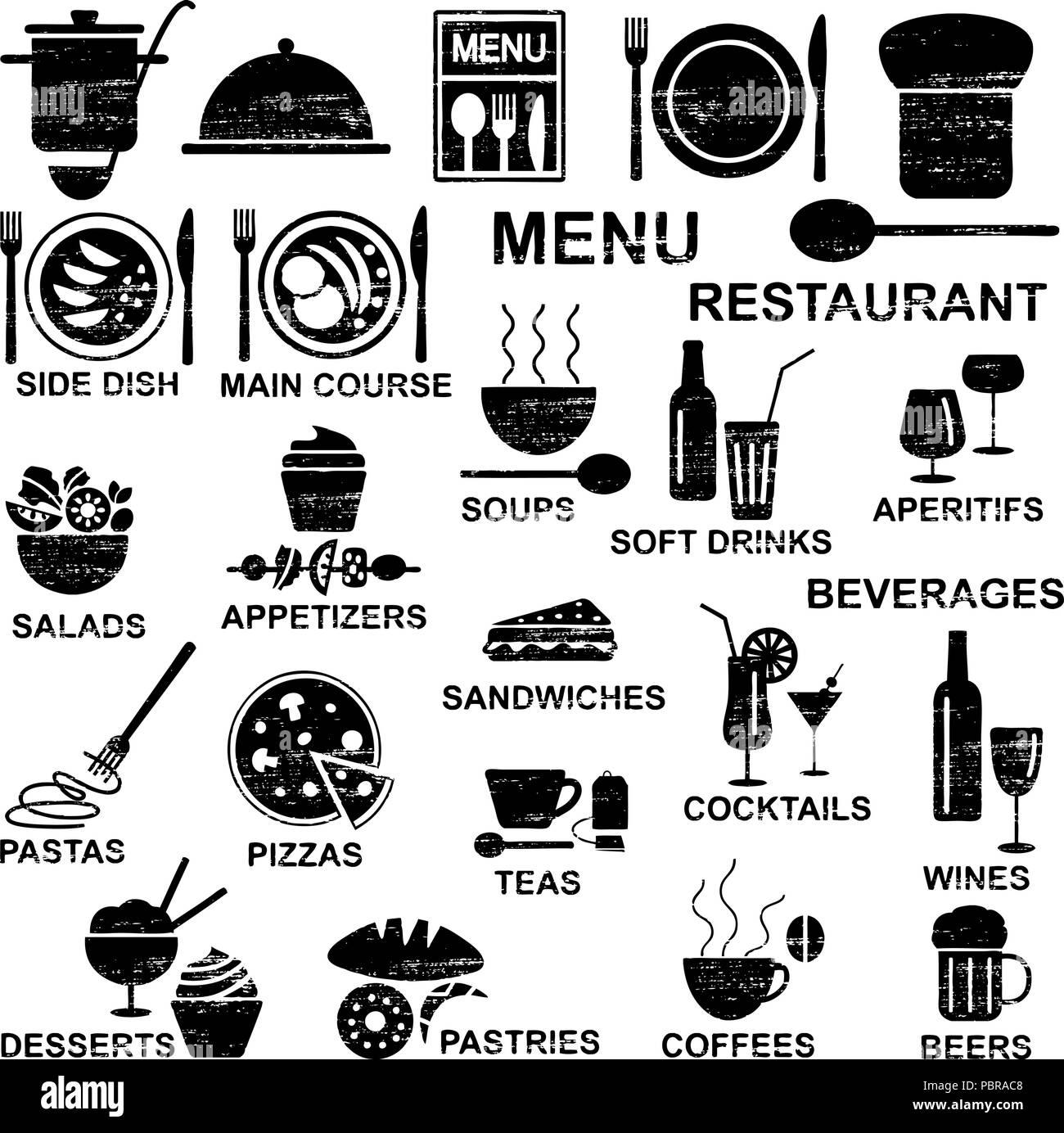 Menu restaurant griffé silhouettes Illustration de Vecteur
