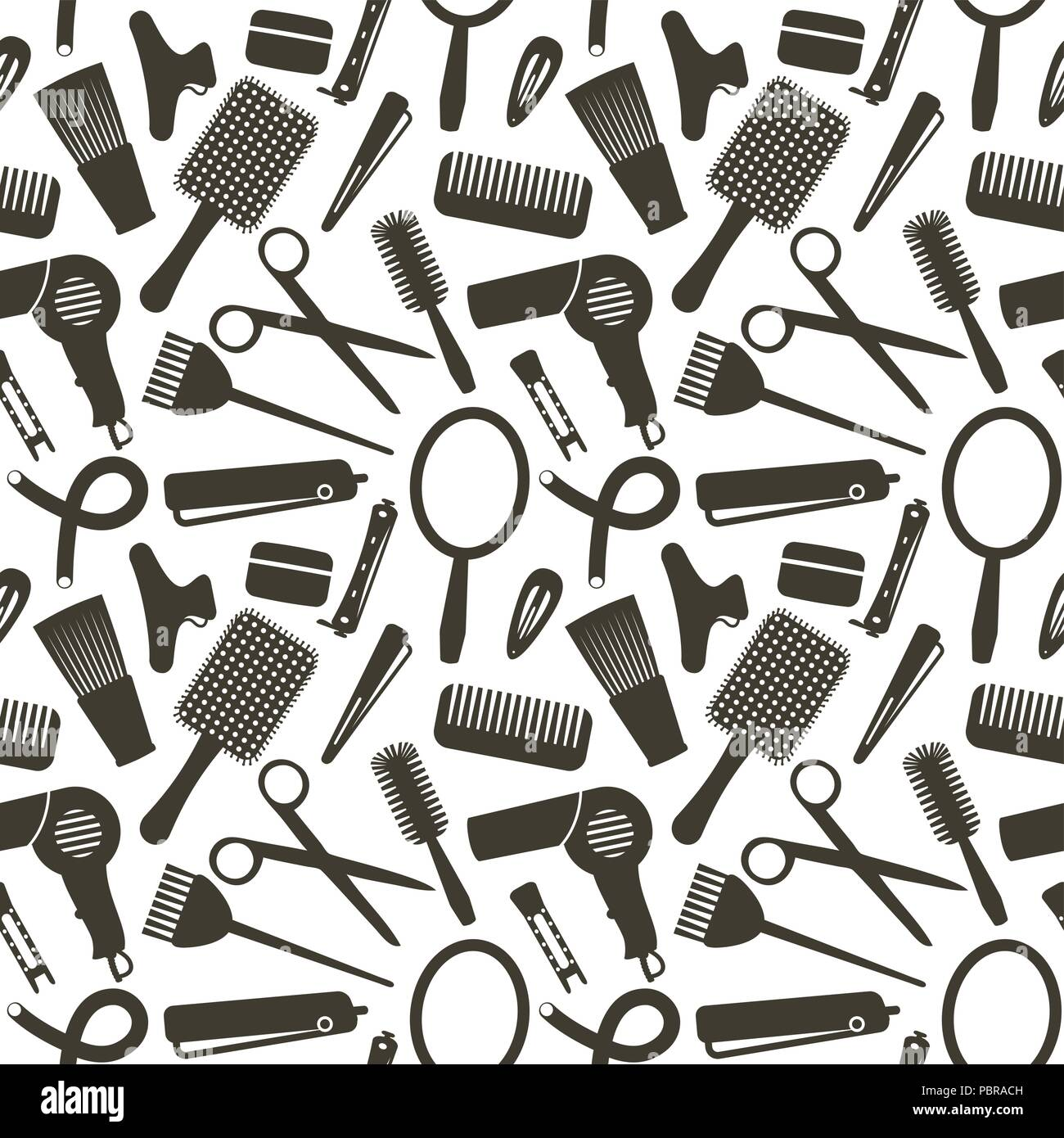 Modèle sans couture avec symboles connexes coiffure Illustration de Vecteur