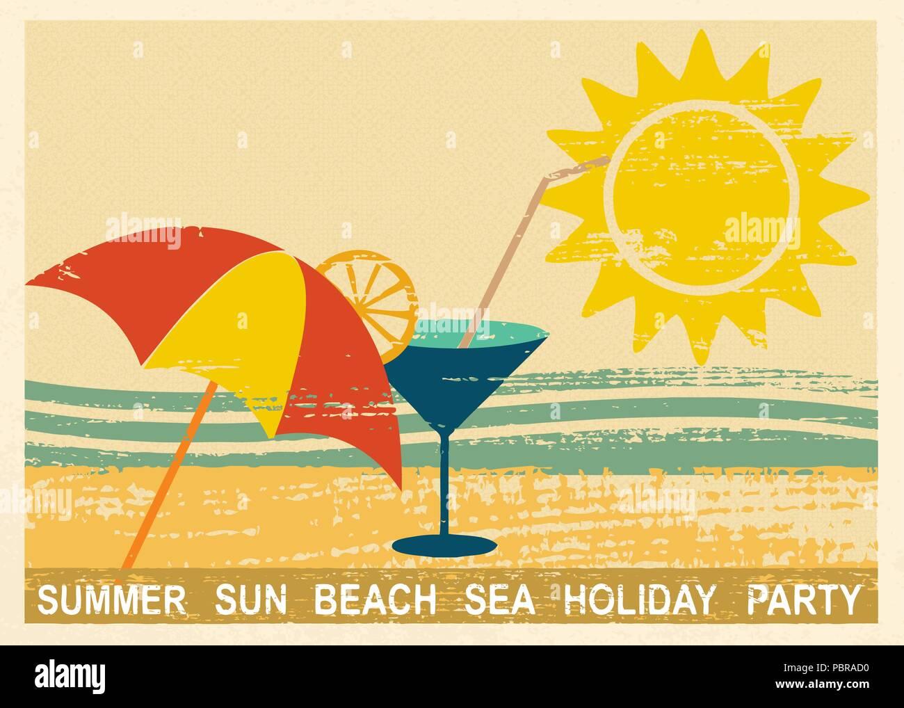 Vintage carte postale avec l'été et les éléments liés à la mer 2 Illustration de Vecteur