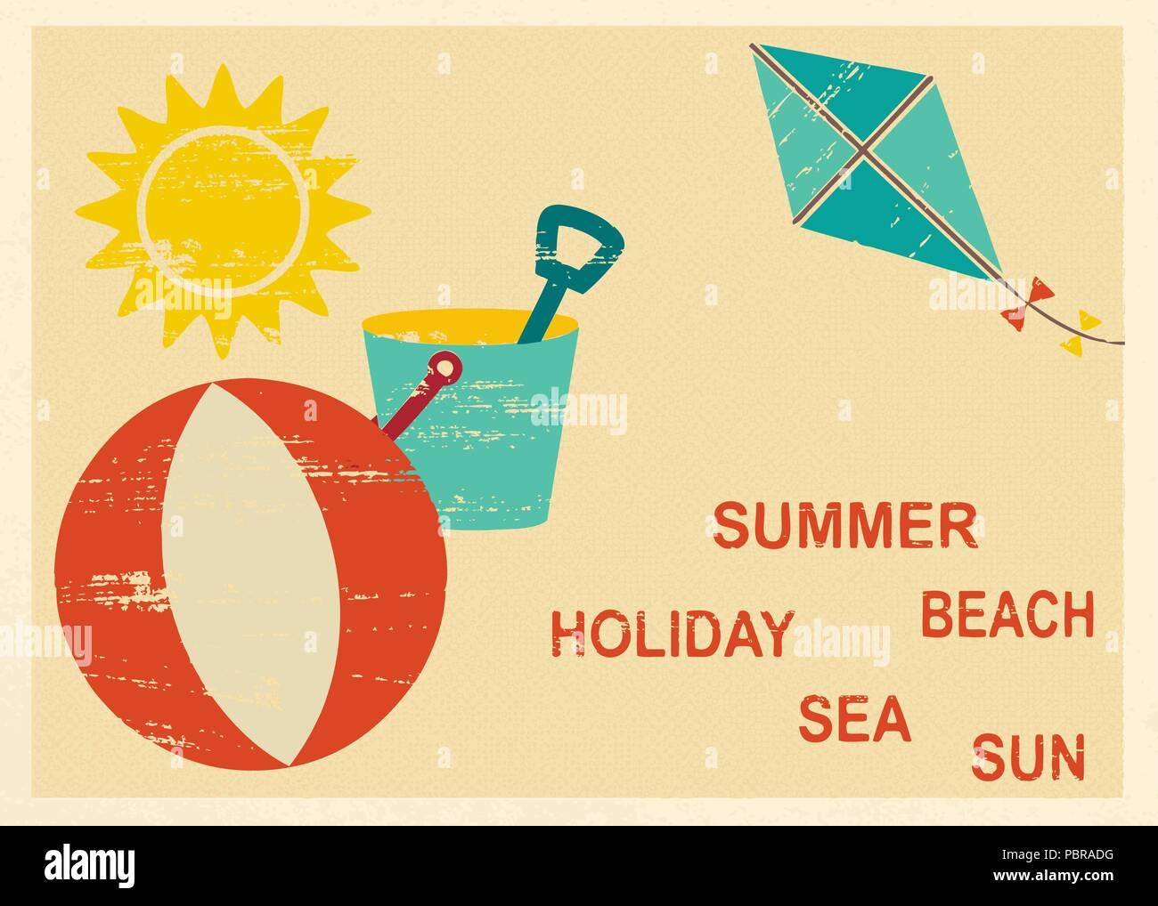 Vintage carte postale avec l'été et les éléments liés à la mer 4 Illustration de Vecteur