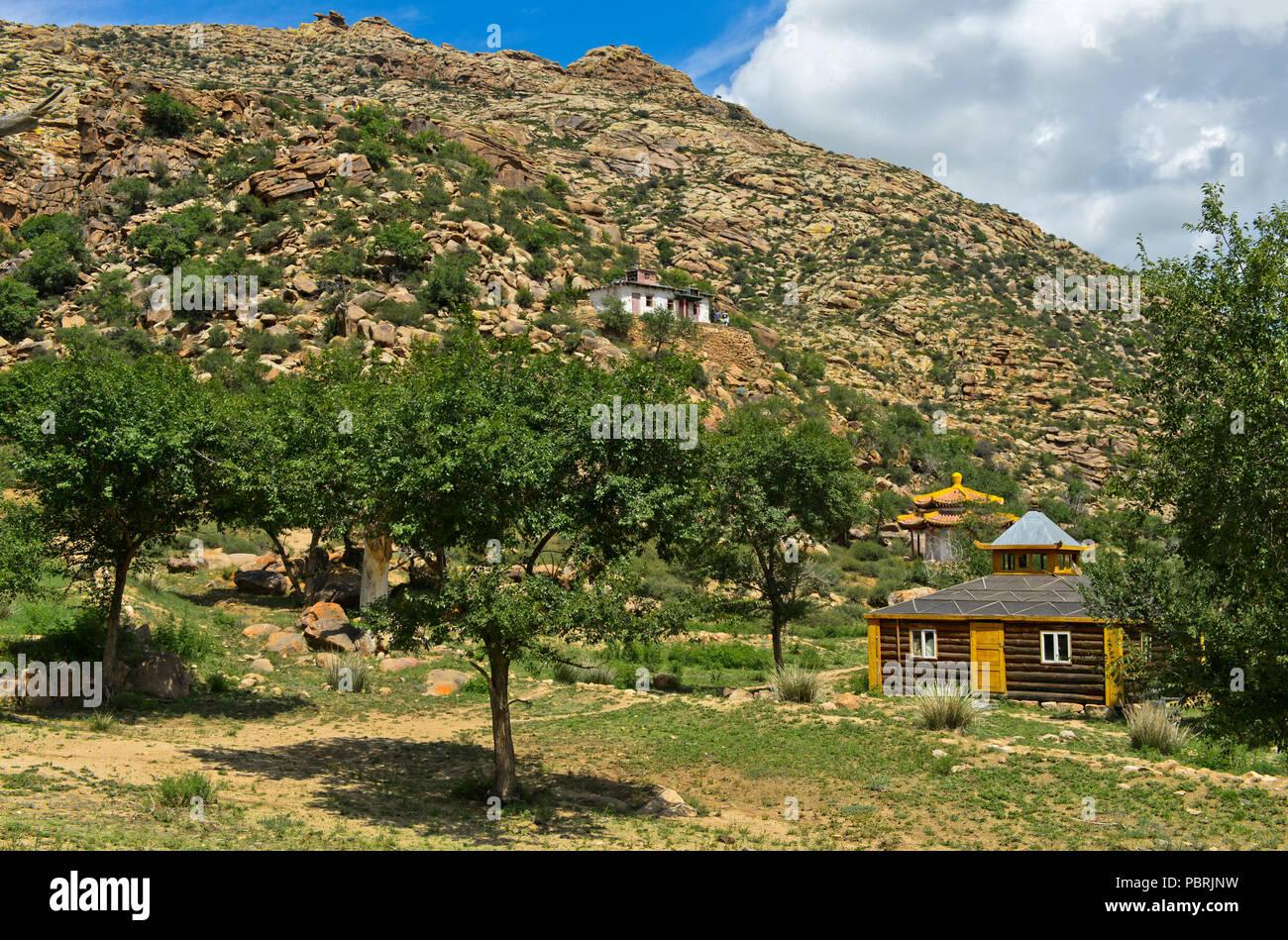 Temple, monastère Erdene Khamba, Khugnu Khan Montagnes, Khögnö Khan Uul, Parc National de Bulgan Mongolie, Province Photo Stock