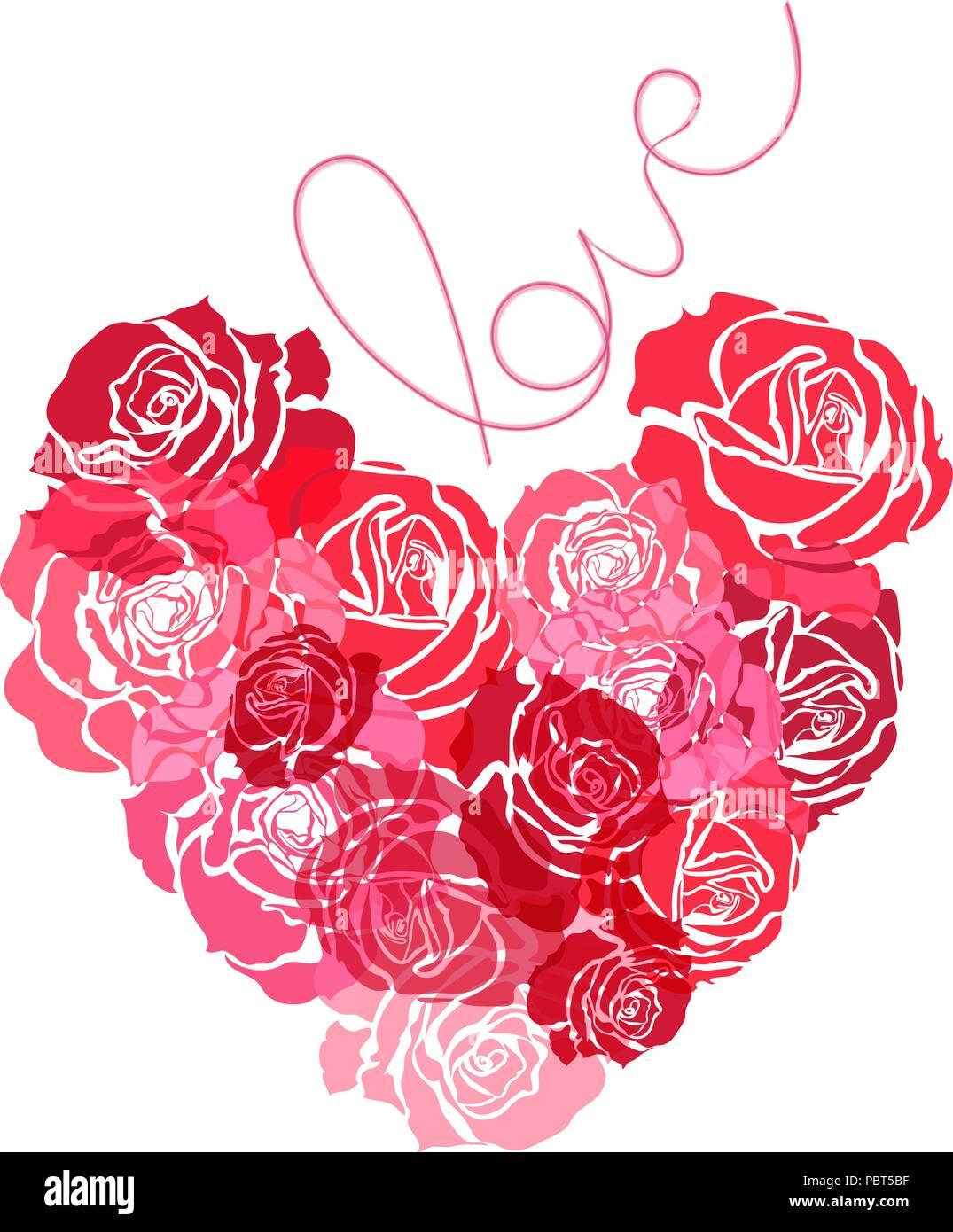 Bouquet de roses en forme de coeur roses rouges sur fond blanc composition florale st - Bouquet de roses en forme de coeur ...