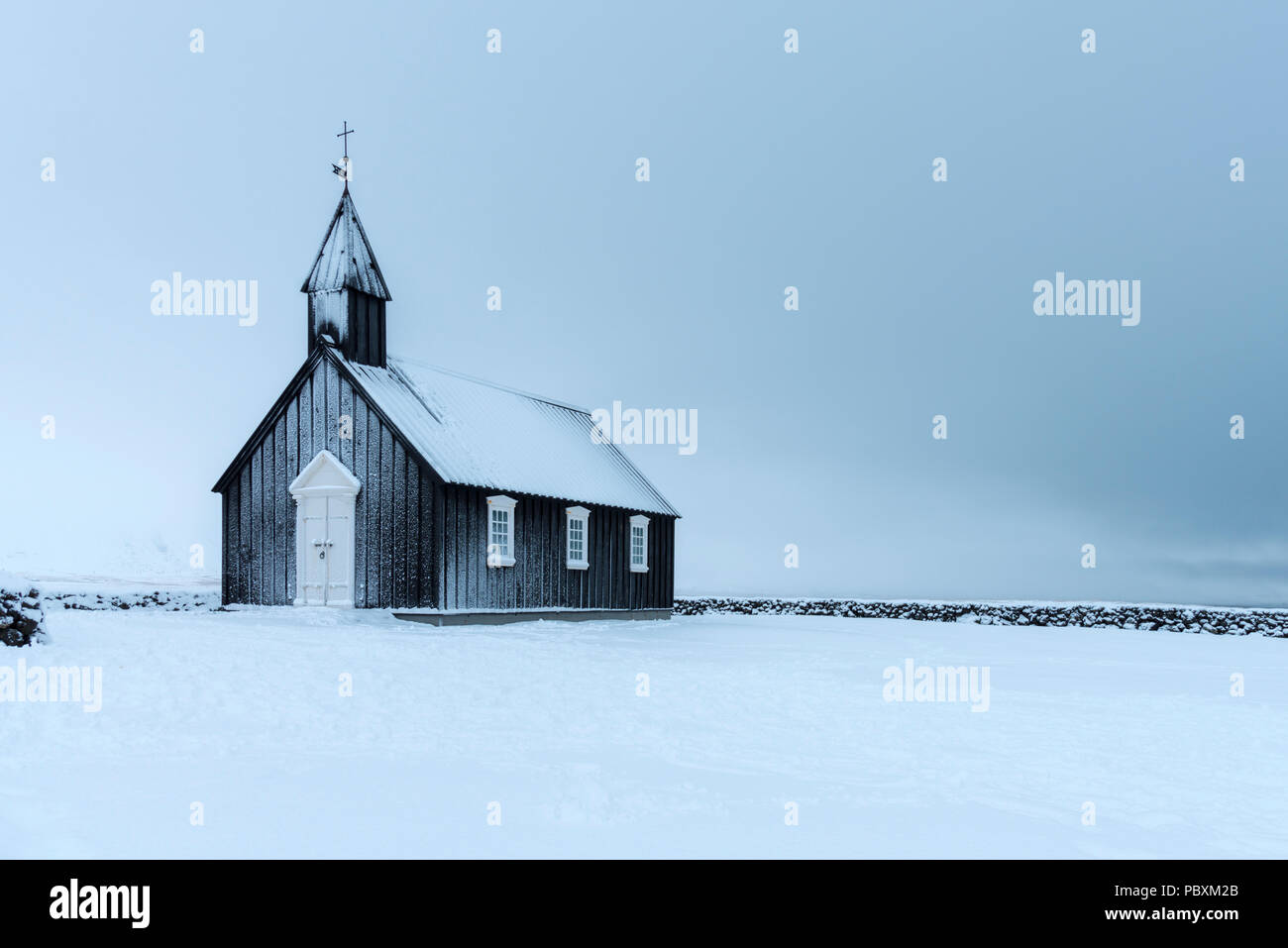 Budir Église, Islande, Europe Snæfellsnes en hiver Photo Stock