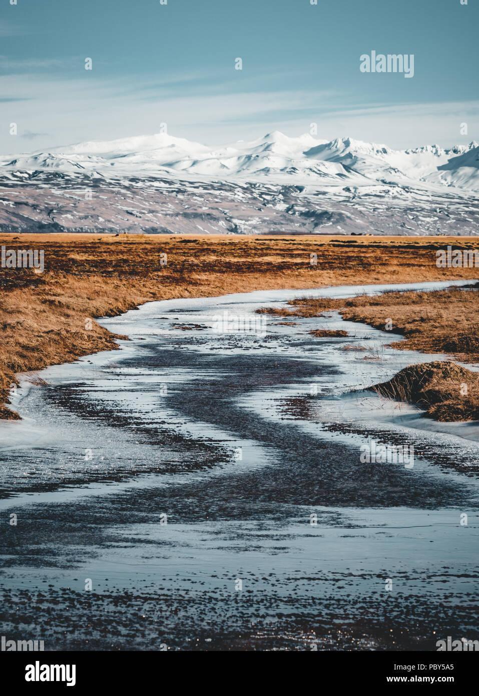 Scène d'hiver de montagne typique de l'Islande avec l'herbe en premier plan et massif montagne en arrière-plan. Photo Stock