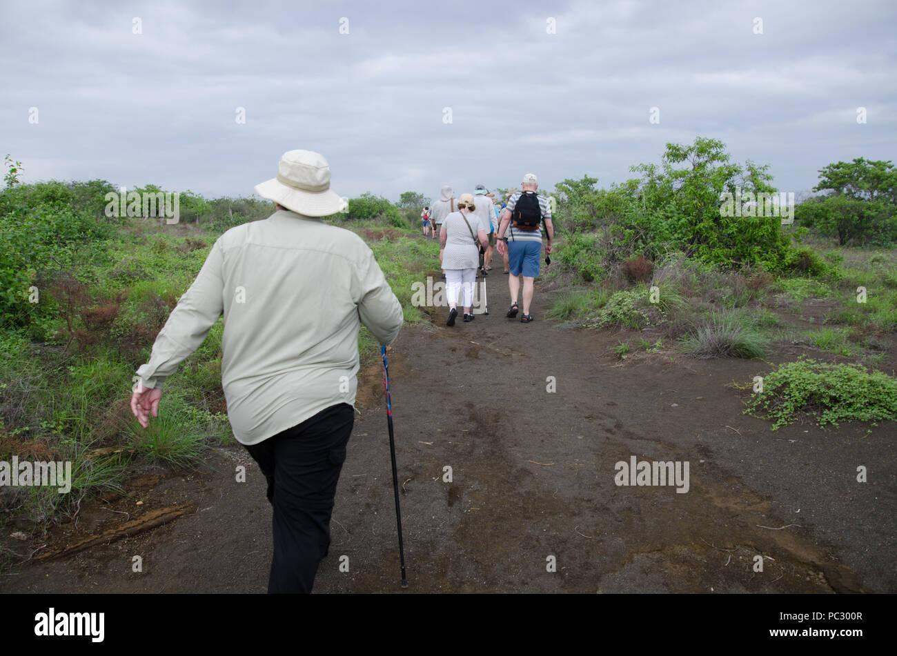 Les voyageurs d'âge mûr de la randonnée le long de la voie. Randonneurs sur le sentier par jour nuageux. Eco tourisme l'île des Galapagos, Equateur. À la recherche d'blue footed boobies. Photo Stock