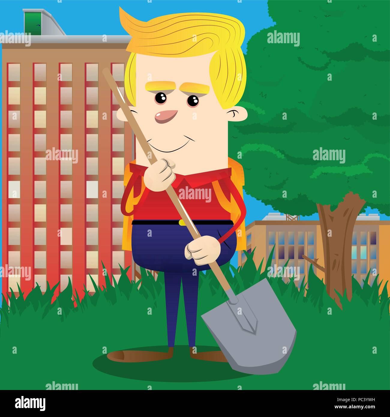 La tenue d'écolier d'une pelle. Vector cartoon character illustration. Photo Stock