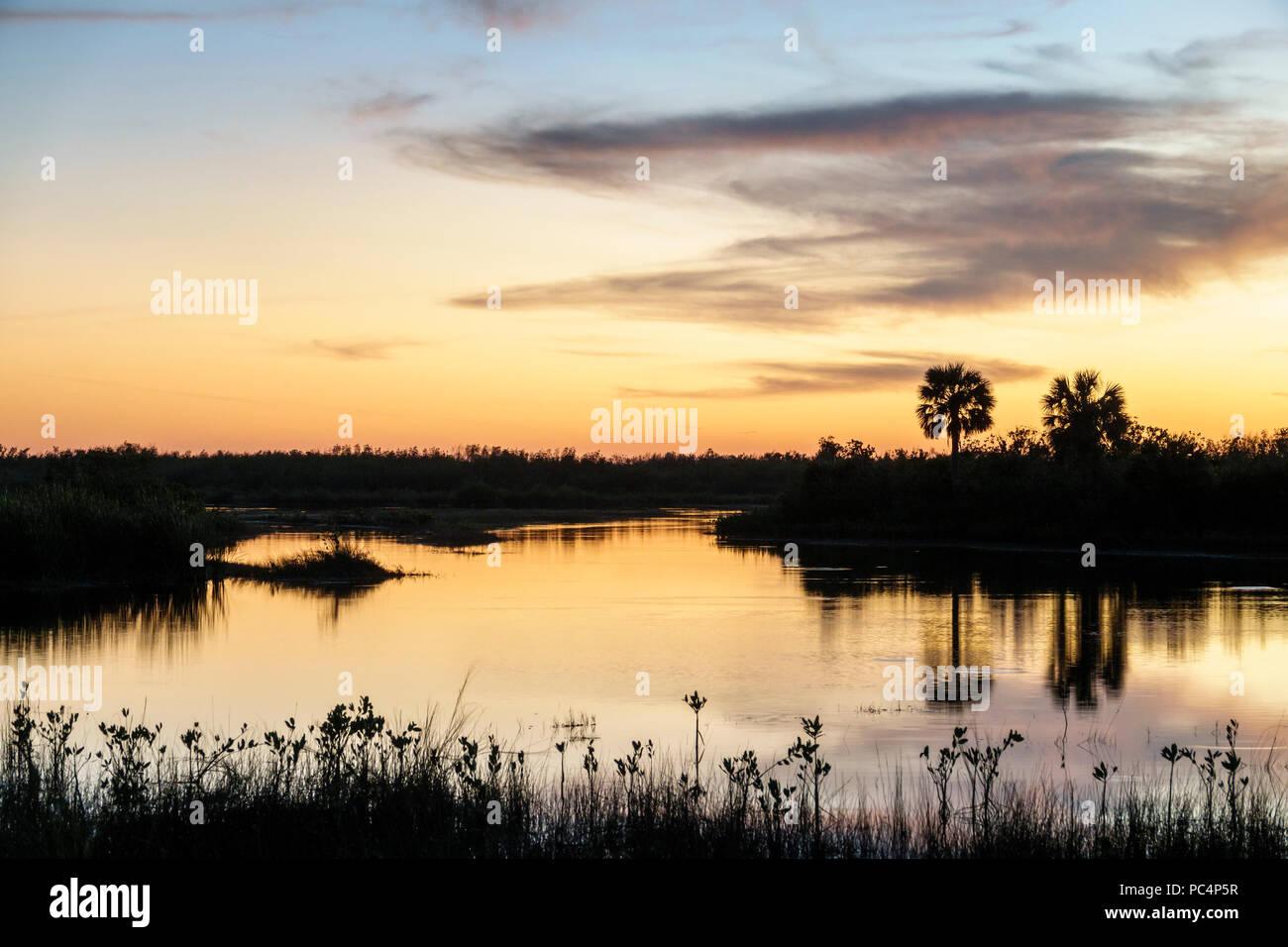 Naples Florida Everglades Fakahatchee Strand State Preserve coucher crépuscule eau douce orange des prairies marneuses de l'eau teinte Photo Stock