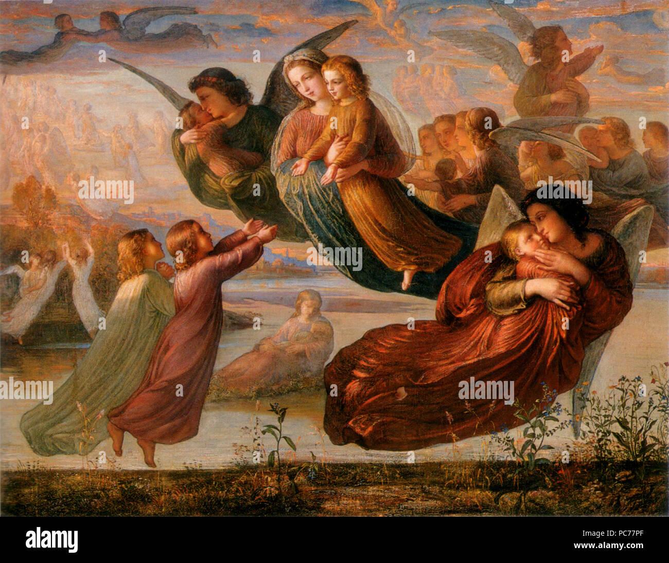 Louis Janmot Le Poème de l'âme Mémoire Souvenirs du ciel du ciel, huile sur toile 113 x 143 Musée des Beaux-Arts de Lyon, inv. 1968-161 Dans une vaste Paine, au bord d'un fleuve, il rêve qu'il marche tout joyeux {...} Tout à coup il entend comme un battement d'ailes, {...} Des Anges radieux aux doux yeux, au front pur, passent en se jouant dans le limpide azur {...} Que ne peut-il, comme eux emporté dans l'espace, {...} vers les cieux reprendre son essor! 377 Louis Janmot - Poème de l'âme 5 - Souvenir du ciel Photo Stock