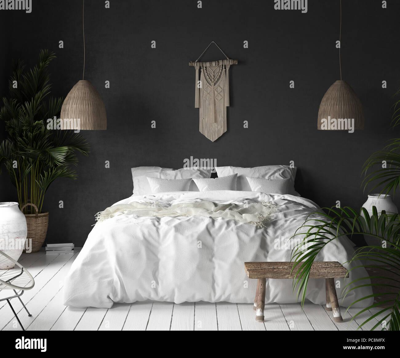 Intérieur avec chambre à coucher,mur noir et blanc décoration de ...