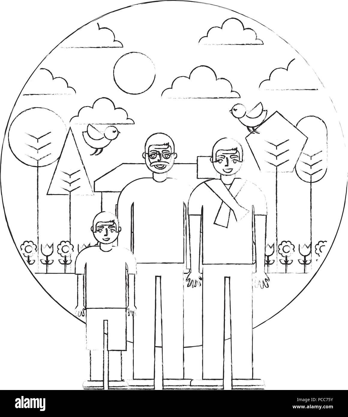 Grand Pere Pere Et Fils Maison Jardin Arbres Vector Illustration