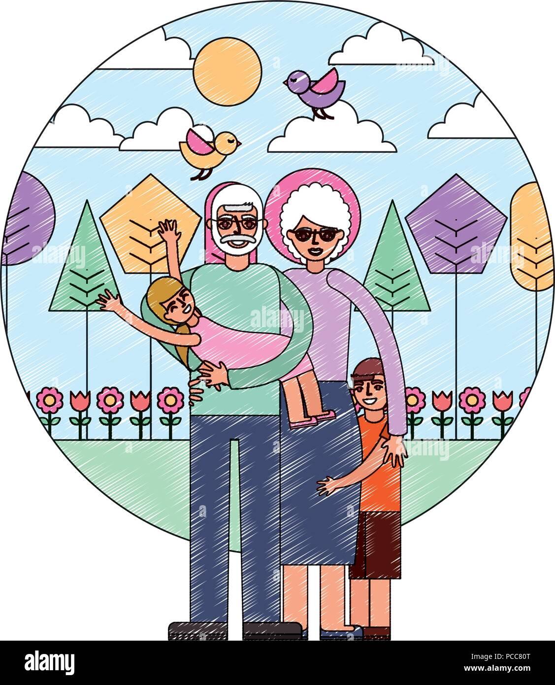 Petite Fille Et Grand Mère Grand Père Transportant Avec