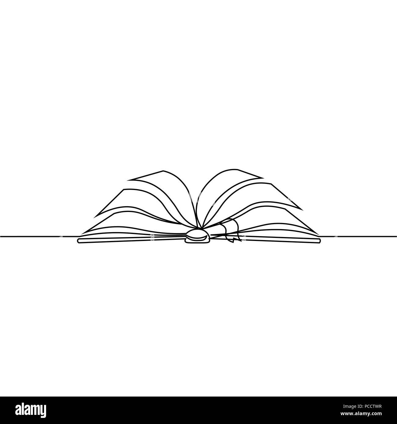 Livre Ouvert Avec Les Pages Isole Sur Blanc Dessin De Ligne