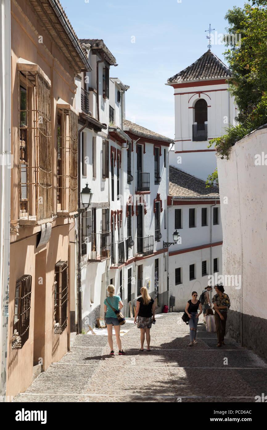 Ruelle de Cuesta de San Gregorio dans l'Albaicin, Grenade, Andalousie, Espagne, Europe Banque D'Images