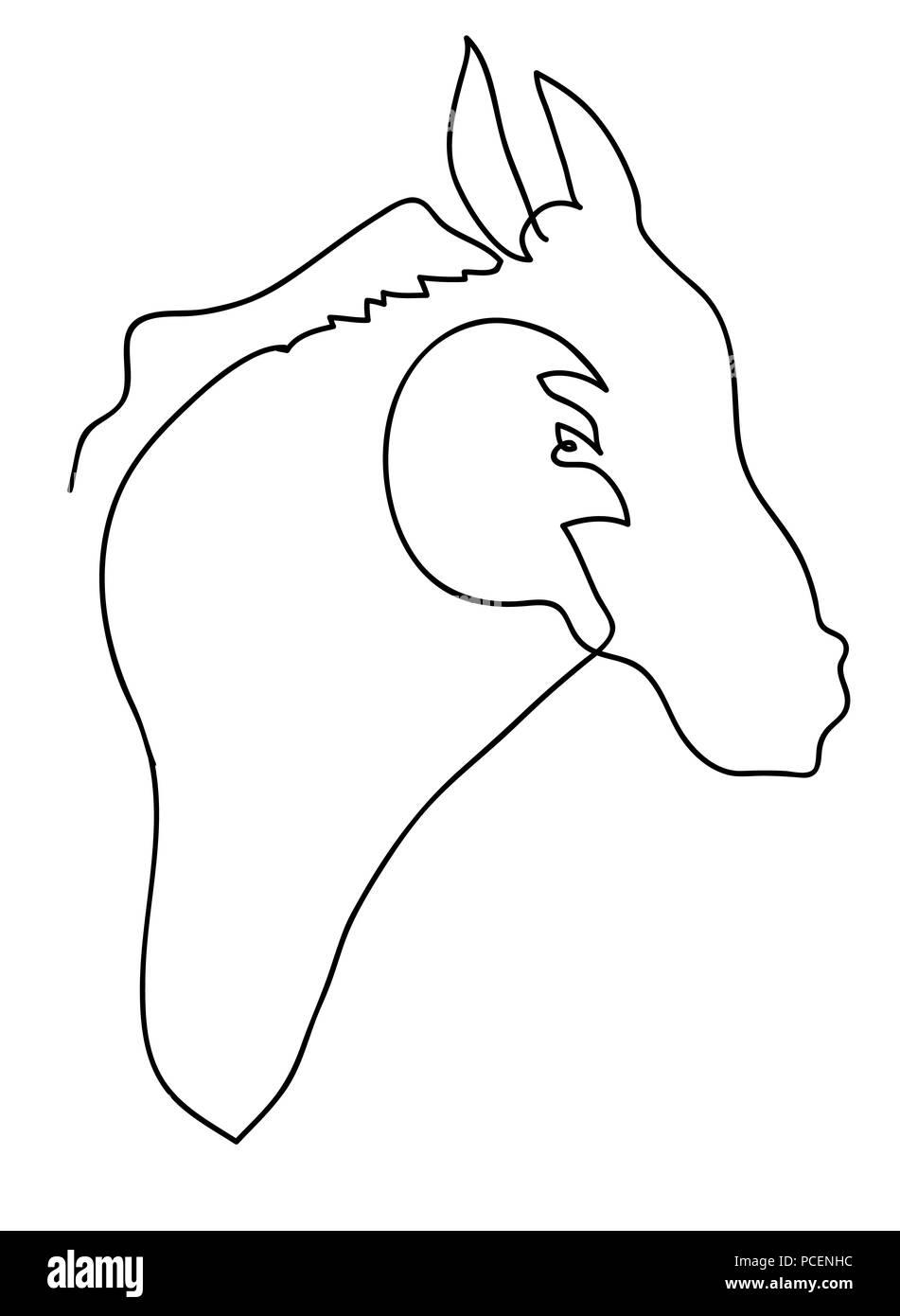 Tête De Cheval Noir Et Blanc Dessin De Ligne Simple De L