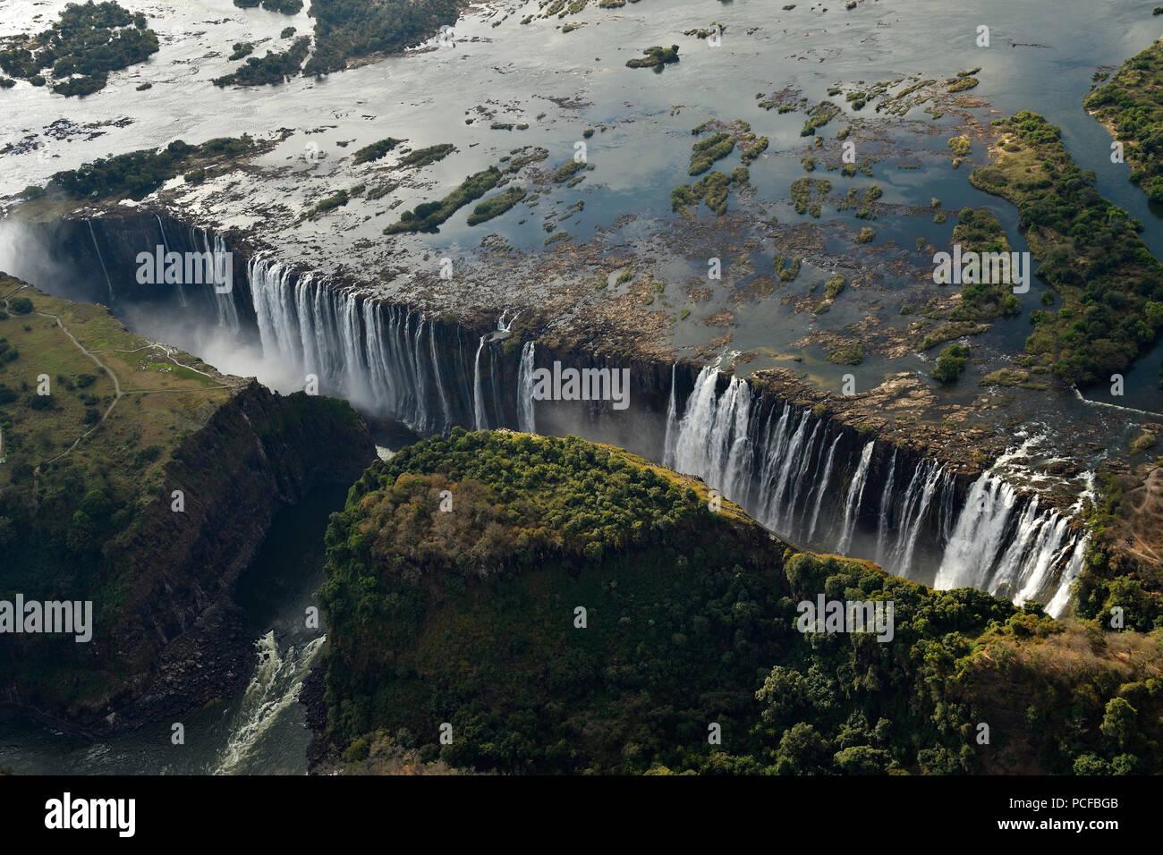 Vue aérienne, Victoria Falls, Zimbabwe, Afrique du Sud Photo Stock