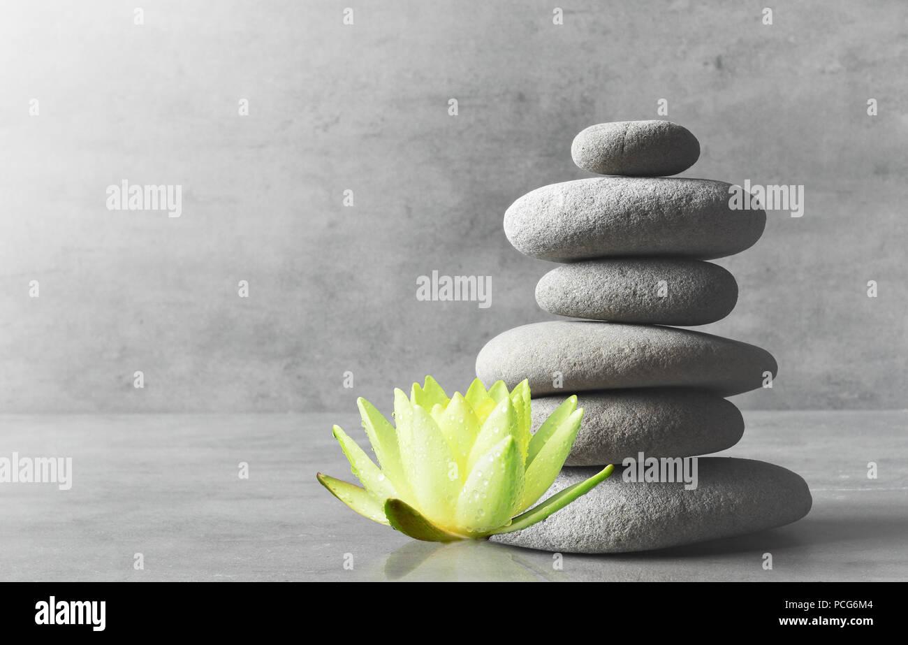 L'équilibre des pierres et blanc fleur lotus. Concept spa et zen. Banque D'Images