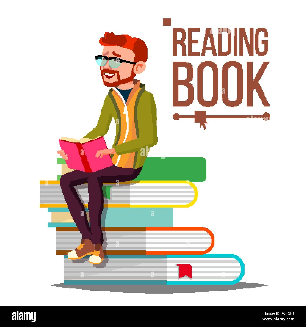 Man Reading Book Vecteur Pile De Livres Geants