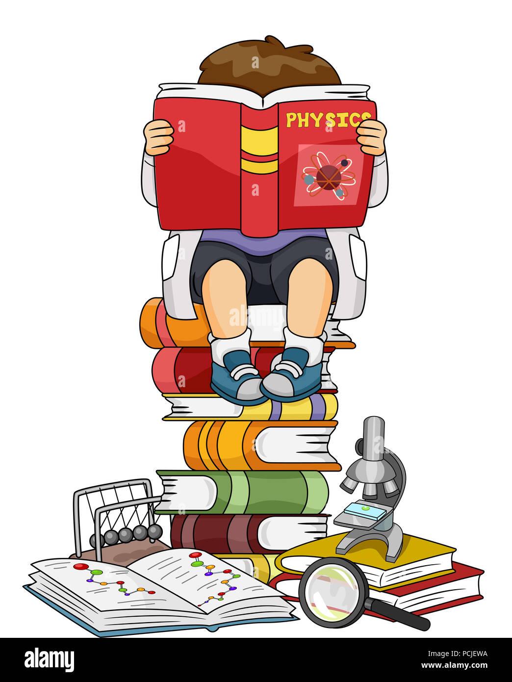 Illustration D Un Enfant Garcon La Lecture D Un Livre De