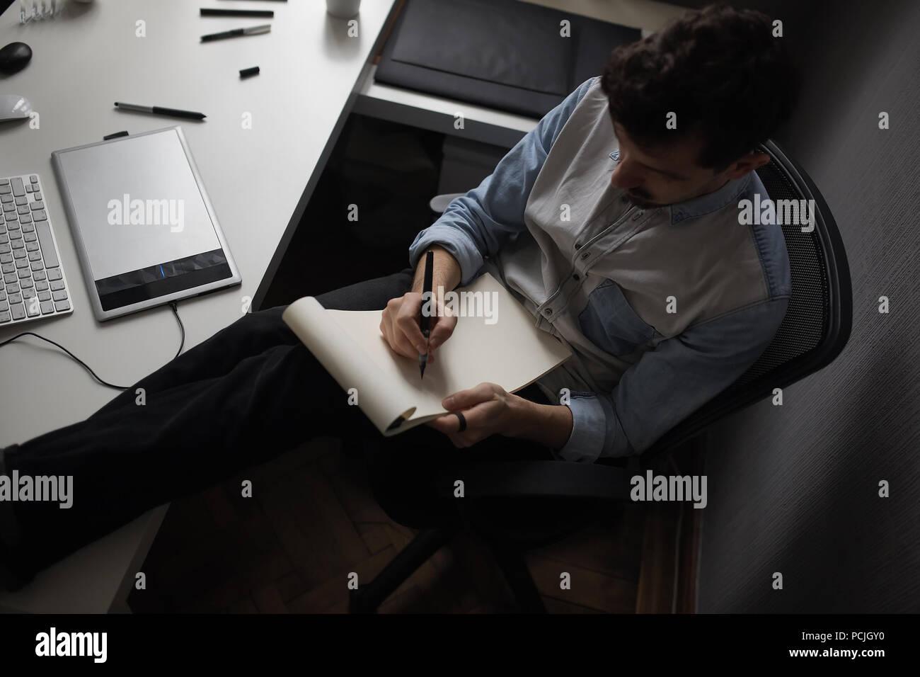 Projet de conception de dessin de créateur. Photo Stock