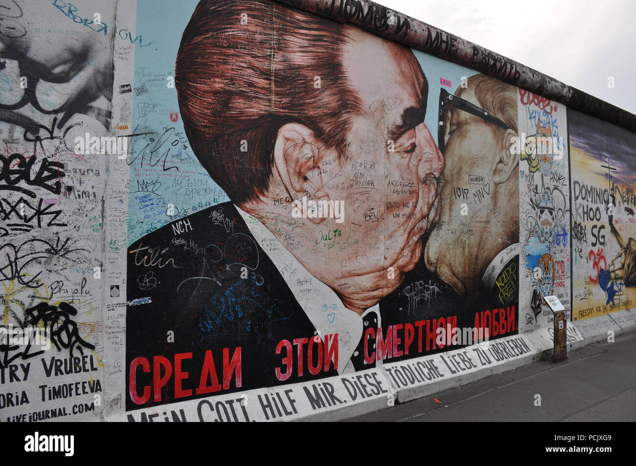'Frère kiss', East Side Gallery, Berlin, Allemagne Photo Stock