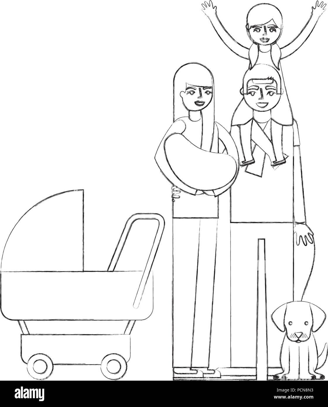 Les Parents Baby Pram Et Petite Fille Chien Vector