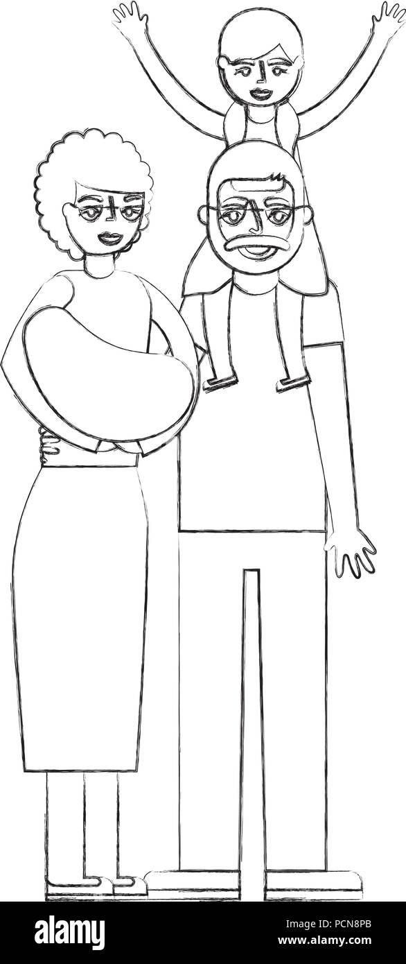 Grand Mère Et Grand Père Bébé Transportant Avec Petite Fille