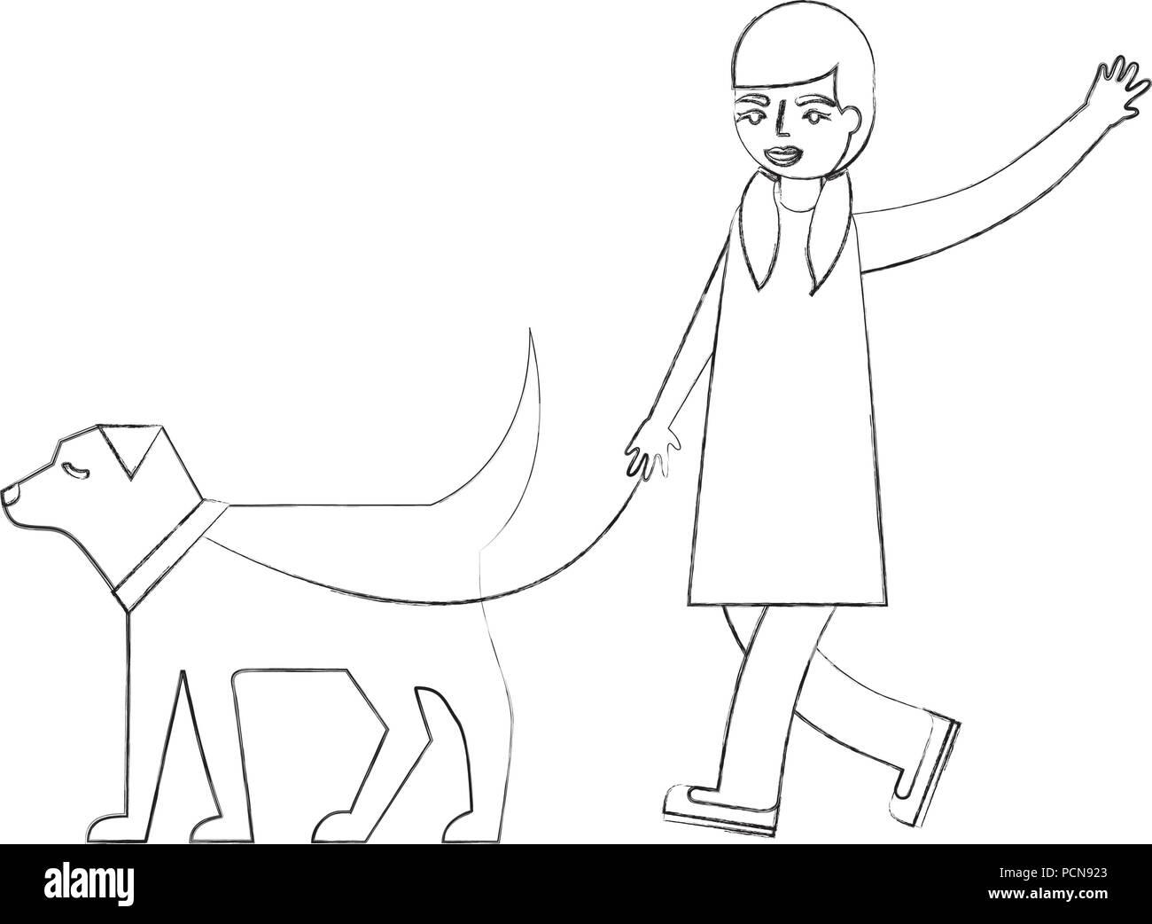 Petite Fille Qui Marche Avec Son Chien Animal Vector